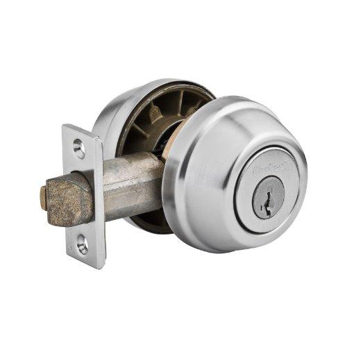 Kwikset Corporation 599-26D Gate Latch Double Cylinder Satin Chrome front-895988