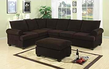Furniture2go F7133 Chocolate Corduroy Sectional Sofa - Reversible Left/Right Loveseat/Wedge, 3-Seat Sofa