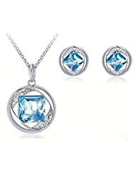 Swarovski Elements Square Crystal In A Life Circle Designer Pendant And Earrings Jewellery Set For Women By NEVI