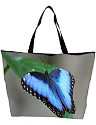 Snoogg Blue And Black Butterfly Designer Waterproof Bag Made Of High Strength Nylon