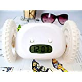 EUBEST New Alarm Clock for Heavy Sleepers on Wheels Runaway Clock Thanksgiving Day gifts(White)