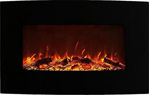 Neptune 35 Inch Curved Knavish Wall Mounted Electric Fireplace