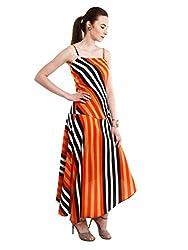 NUN Women's Crepe A-Line Dress (NUNDR6022_Orange_Large)