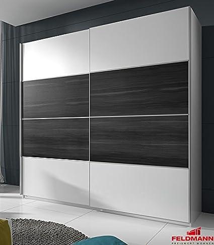 Schwebeturenschrank Kleiderschrank 54579 weiß / walnuss schwarz 200cm