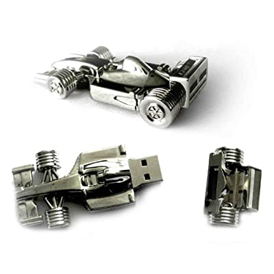 4GB Race Car Stainless Steel High Speed USB 2.0 High Speed Flash Pen Drive Disk Memory Stick Support Windows and Mac OS Shock Proof Metallic Body Great Gift - Comes presented in a gift box by Zuber