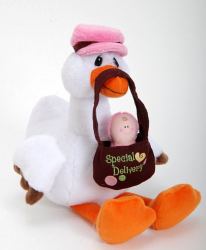 "Special Delivery 12"" Pink Stork With Baby Girl Plush Stuffed Animal Toy - 1"