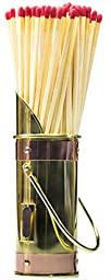 Polished Brass Fireplace Matchstick Holder & 40 Long Matches Bundle. Classic 8 Inch Tall, Two-Tone Design Complements Any Fire Place & Holds Up to XXX Match. Great Decorative Fireplace Accessory.