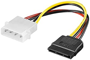 "Kabel HDD Stromadapter 5,25"" 4pol.MolexSt.>15pol. SATA 0,13m 1er"