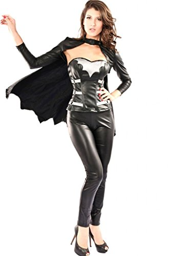 Soyagift Women's Sexy Lingerie Long Cloak Leather Vampire Costume