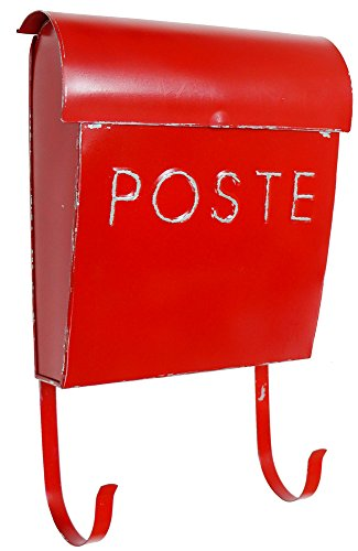 NACH French Euro Rustic Mailbox, Red (Vintage Mailbox Wall Mount compare prices)