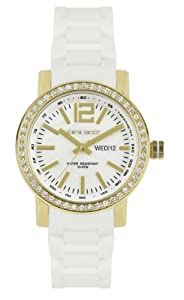 Women's Gold Tone Stainless Steel Crystal Set Bezel Round Mother Of Pearl Dial Day & Date Function 100 Metres Water Resistant White Silicone Strap