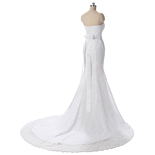 G Marry Women's Strapless Mermaid Lace Brial Wedding Dress Size 6 Ivory
