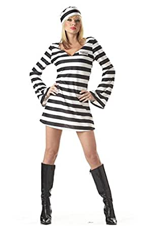 Halloween Party Costume Cosplay Sexy Female Prisoners (White black)