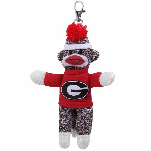 Plushland College UGA Georgia Bulldogs Sock Monkey Key Chain at 'Sock Monkeys'