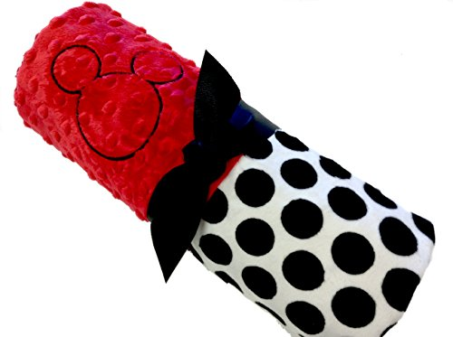 Mickey Mouse Inspired Personalized Baby Blanket Red And White Polk Dot Minky With Black Minky Back