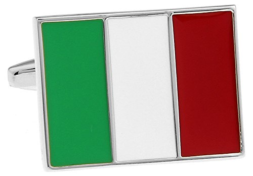 Flag of Italy Cufflinks Italian Flag Cuff-links with Velvet Gift Box (Italian Flag Cufflinks compare prices)