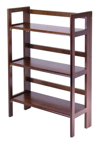 3 tier stackable folding shelf bookcase solid beech wood Folding bookshelf