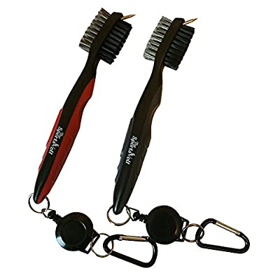Two Pack Golf Brush and Groove Cleaner, 2 Colors (Red/Black & Grey/Black), 2 Ft Retractable Zip-Line Aluminum Carabiner