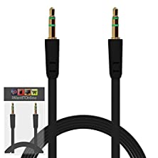 buy Iwio Cubot H1 Black Flat 3.5Mm Gold Plated Jack To Jack Male Aux Auxiliary Stereo Jack Connection Cable Lead Wire