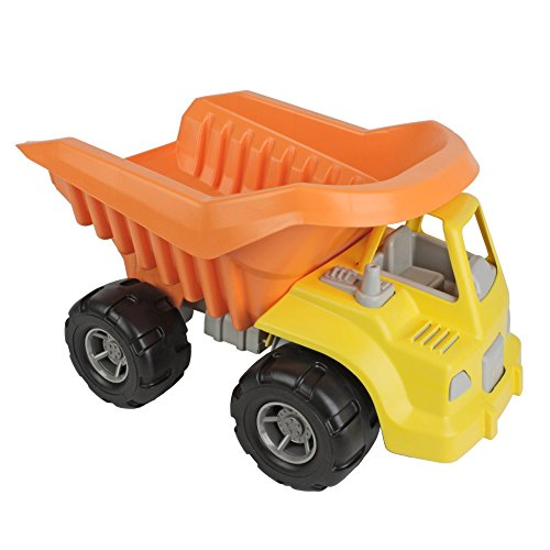 TimMee Big Plastic Dump Truck Yellow Cab & Orange Dump 15in USA Made (Rocky Dump Truck compare prices)