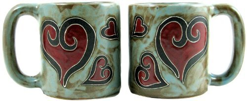 Set Of Two (2) Mara Stoneware Collection - 16 Oz. Coffee Cup Collectible Dinner Mugs - Heart Design