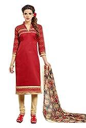 Craftliva Red & Beige Embroidery Chanderi Cotton Dress Material