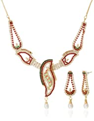AAKSHI Green Classic Austrian Diamond & Pearl Drop Designer Jewellery Set (AKS_ST_FADGR)
