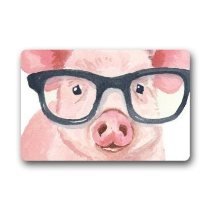 Custom Doormat Funny Pig Wearing Glasses Door Mat Rug Indoor/Outdoor/Front Door/Bathroom Mats 23.6