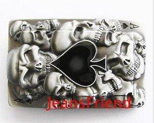 belt buckle vintage Casino Poker Spades Skull ace