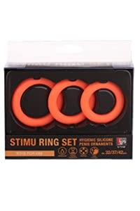 NMC - Erection Commander Cockring Set - 3 Silikon Penisringe mit Ø 32, 37 und 42 mm - neon orange