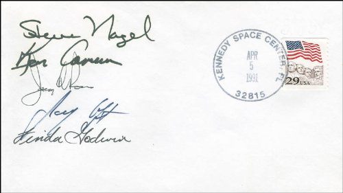 Space Shuttle Atlantis - Sts - 37 Crew - Commemorative Envelope Signed Co-Signed By: Jerry L. Ross, Colonel Kenneth D. Cameron, Colonel Steve Nagel, Linda Godwin, Jay Apt