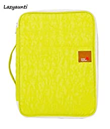 Lazyaunti Student Business Multi-functional Padfolio Portfolio with Inside Pocket,for Pads Letter A4 Paper Waterproof Zipper Tote Case Bag Organizer(bright Yellow)