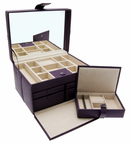 Dulwich Designs Naples Mauve Leather Jewellery Box (XL) 70394