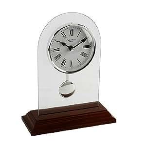 Arched Shape Glass & Light Walnut Wood Pendulum Mantel Clock with Batton Dial