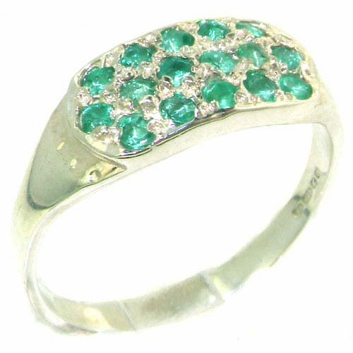Genuine Solid Sterling Silver Vibrant Green Natural Emerald Ring - Size 11.75 - Finger Sizes 4 to 12 Available - Suitable as an Anniversary ring, Engagement ring, Eternity Ring, or Promise ring