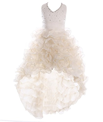 Fashion Plaza Girl's Satin Organza Hi-lo Formal Communion Pageant Dress K0025 (8, Champagne)