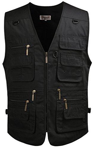 Mrignt Men's Oversize Pockets Winter Thicken Sports Outdoor Vest(US XL (Asia 4XL),Black)