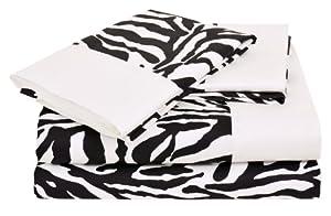 Elite Home Regal Collection Zebra Print 300 Thread Count Cotton Sateen Sheet Set, California King Size, 4-Piece, Black/White