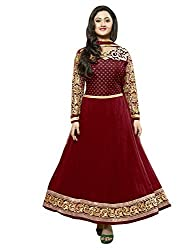 Viha Women's Georgette Semi-stitched Dress Material (VF_Kavya_Red_Free Size)