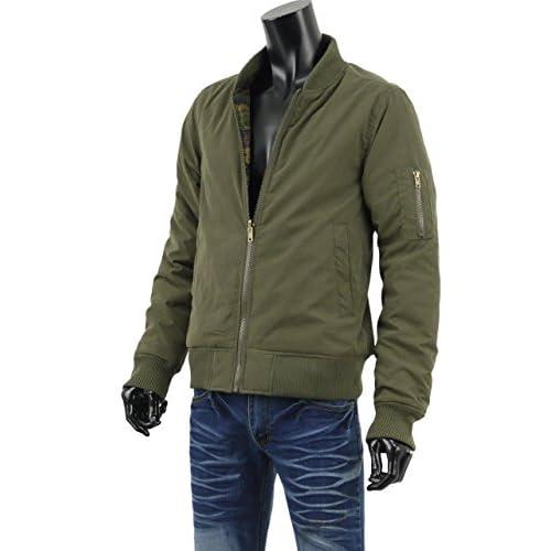 ジャケット メンズ ミリタリー フライトジャケット ブルゾン リバーシブル 迷彩 カモフラ MA-1 S261017-01 カーキ M
