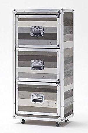 Kommode, Schrank mit 3 Schubladen, grau, recycle-Holz, shabby shic