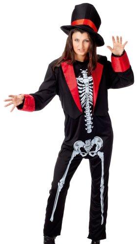 r-dessous Damen Horror Halloween Kostüm Skelett Knochen Gerippe Tod Untot Karneval Fasching Gothic Pank Groesse: L/XL