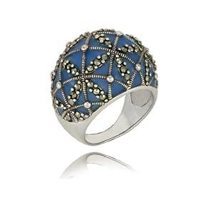 Sterling Silver Marcasite Epoxy Domed Lattice Ring, Size 5