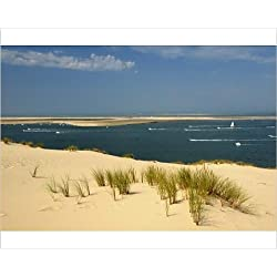 Photographic Print of Sand banks, motor and sailing boats, Bay of Arcachon, Cote d Argent