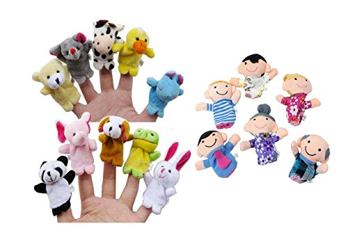 iBUY365 16Pcs Story Time Finger Puppets-10 Animals 6 People Family Members Educational Puppets by iBUY365 Color: Style1, Model: - 1