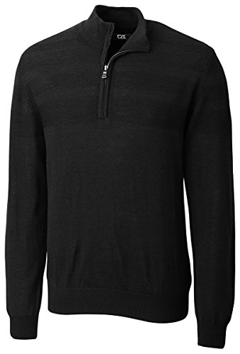 Cutter & Buck Men's Douglas Quarter Zip Sweater, Black, X-large
