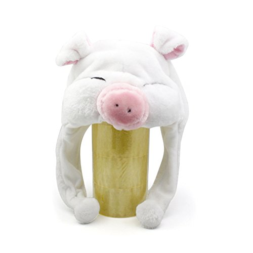 TopTie Weichtier Hut mit Ohrenklappen, Pelztier Hood Cap - White Pig