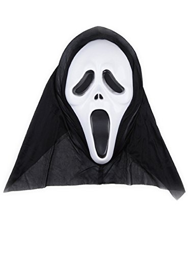 [Century Star Deluxe Novelty Halloween Costume Party Head Scary Mask Clown White Scream One Size] (Homemade Scary Clown Halloween Costumes)
