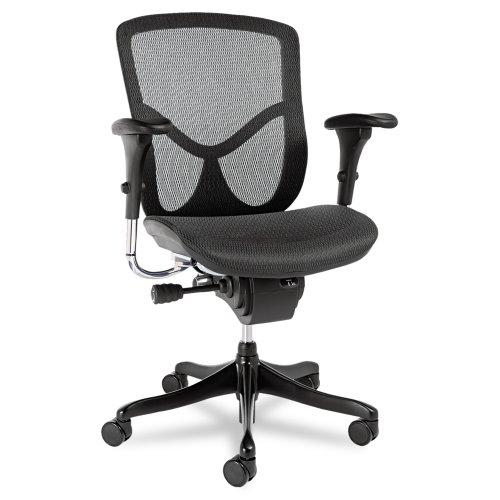 Alera EQ Series Ergonomic Multifunction Mid-Back Mesh Chair, Black Base