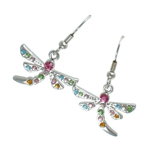 Earrings Dangle Dragon Fly 19 Mm X 23 Silver Multi Color Cz